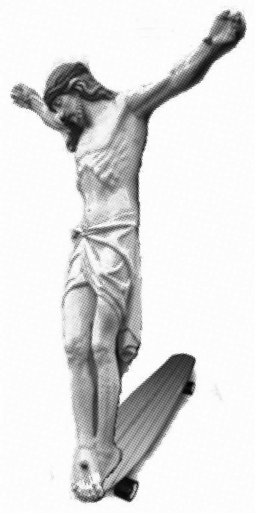 Christ_hang_10_halftone_b__w